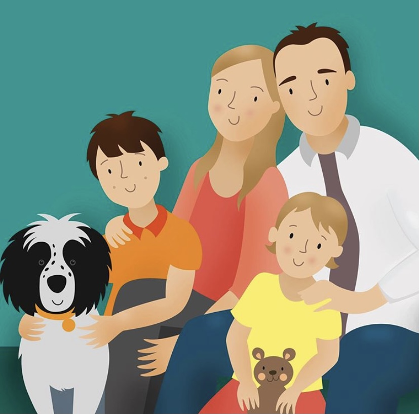 A digitally illustrated family portrait featuring a woman and a man, two children and a black and white dog.